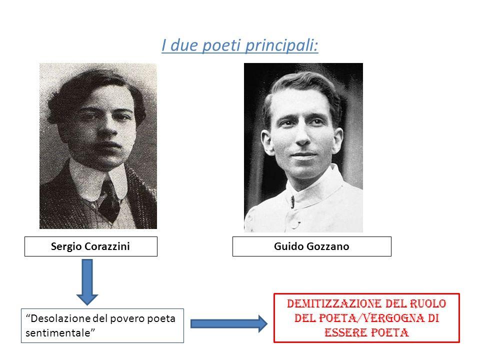 I due poeti principali: Sergio CorazziniGuido Gozzano Desolazione del povero poeta sentimentale DEMITIZZAZIONE DEL RUOLO DEL POETA/VERGOGNA DI ESSERE