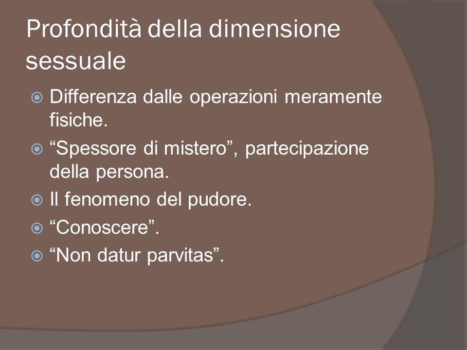 Profondità della dimensione sessuale Differenza dalle operazioni meramente fisiche. Spessore di mistero, partecipazione della persona. Il fenomeno del