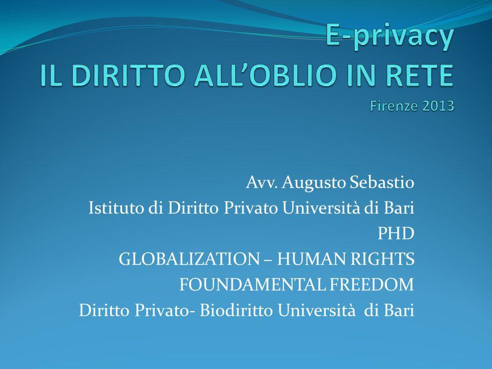 Avv. Augusto Sebastio Istituto di Diritto Privato Università di Bari PHD GLOBALIZATION – HUMAN RIGHTS FOUNDAMENTAL FREEDOM Diritto Privato- Biodiritto
