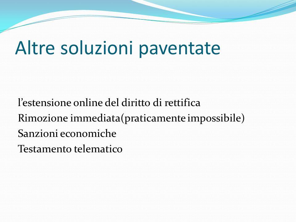 Altre soluzioni paventate lestensione online del diritto di rettifica Rimozione immediata(praticamente impossibile) Sanzioni economiche Testamento tel