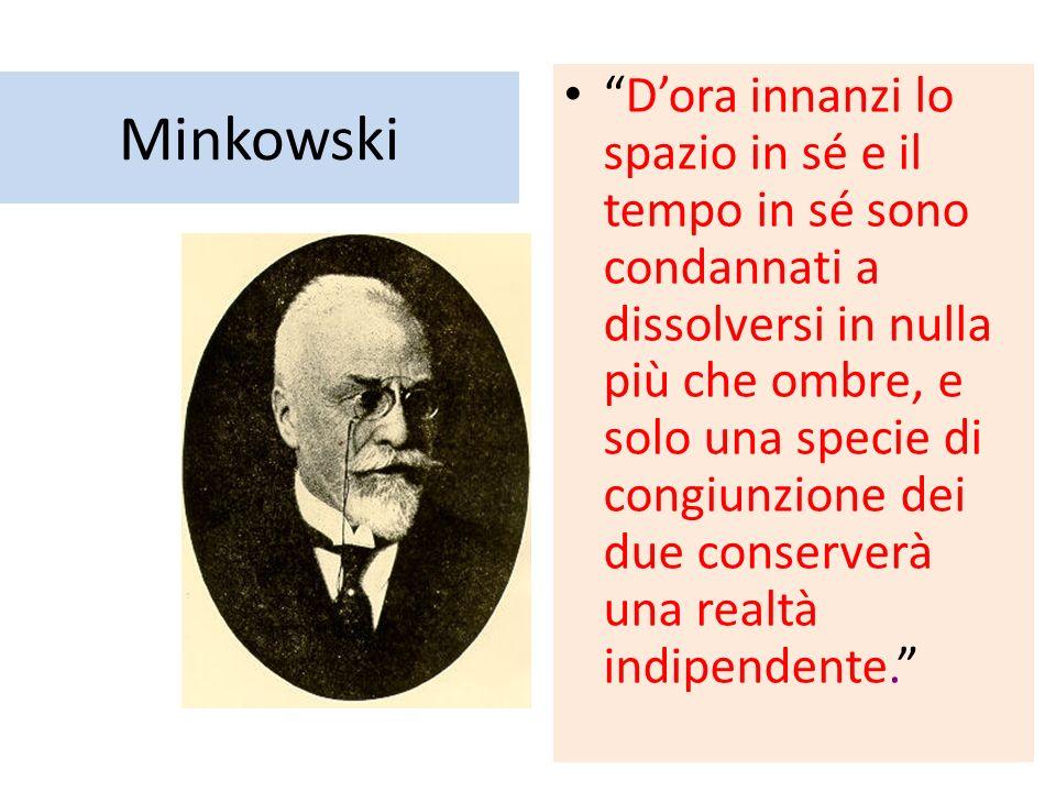 Minkowski Dora innanzi lo spazio in sé e il tempo in sé sono condannati a dissolversi in nulla più che ombre, e solo una specie di congiunzione dei due conserverà una realtà indipendente.