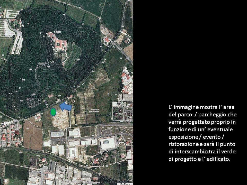 L immagine mostra l area del parco / parcheggio che verrà progettato proprio in funzione di un eventuale esposizione / evento / ristorazione e sarà il punto di interscambio tra il verde di progetto e l edificato.