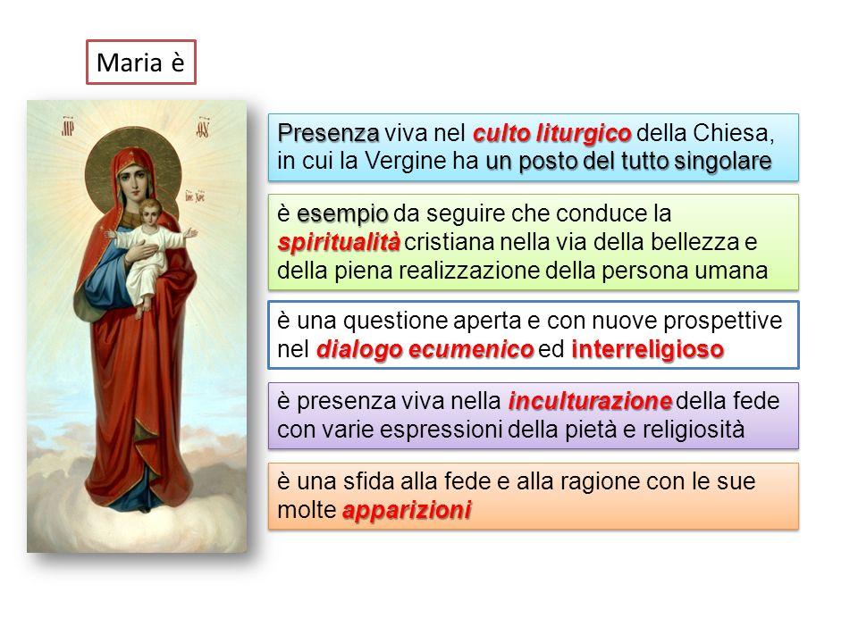 Presenzaculto liturgico un posto del tutto singolare Presenza viva nel culto liturgico della Chiesa, in cui la Vergine ha un posto del tutto singolare