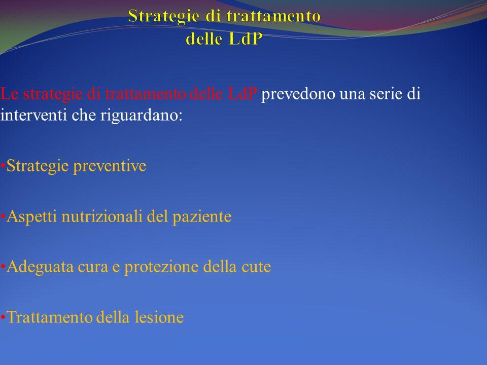 Le strategie di trattamento delle LdP prevedono una serie di interventi che riguardano: Strategie preventive Aspetti nutrizionali del paziente Adeguat