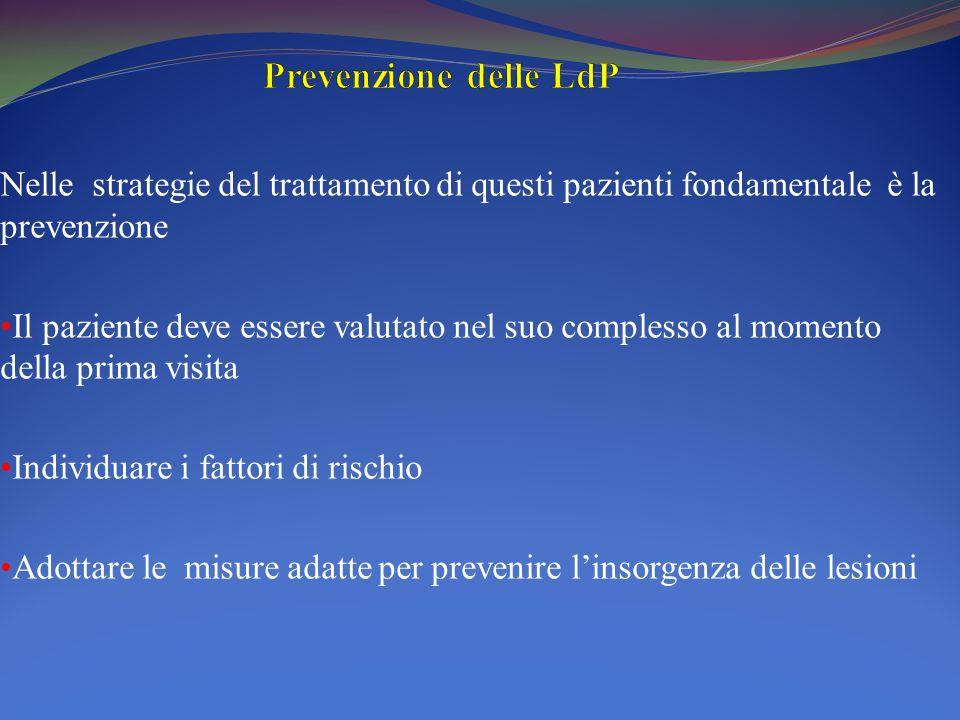 Nelle strategie del trattamento di questi pazienti fondamentale è la prevenzione Il paziente deve essere valutato nel suo complesso al momento della p
