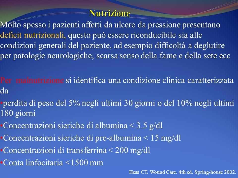 Molto spesso i pazienti affetti da ulcere da pressione presentano deficit nutrizionali, questo può essere riconducibile sia alle condizioni generali d