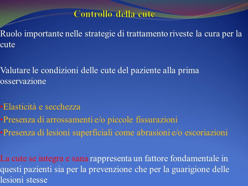 Ruolo importante nelle strategie di trattamento riveste la cura per la cute Valutare le condizioni delle cute del paziente alla prima osservazione Ela