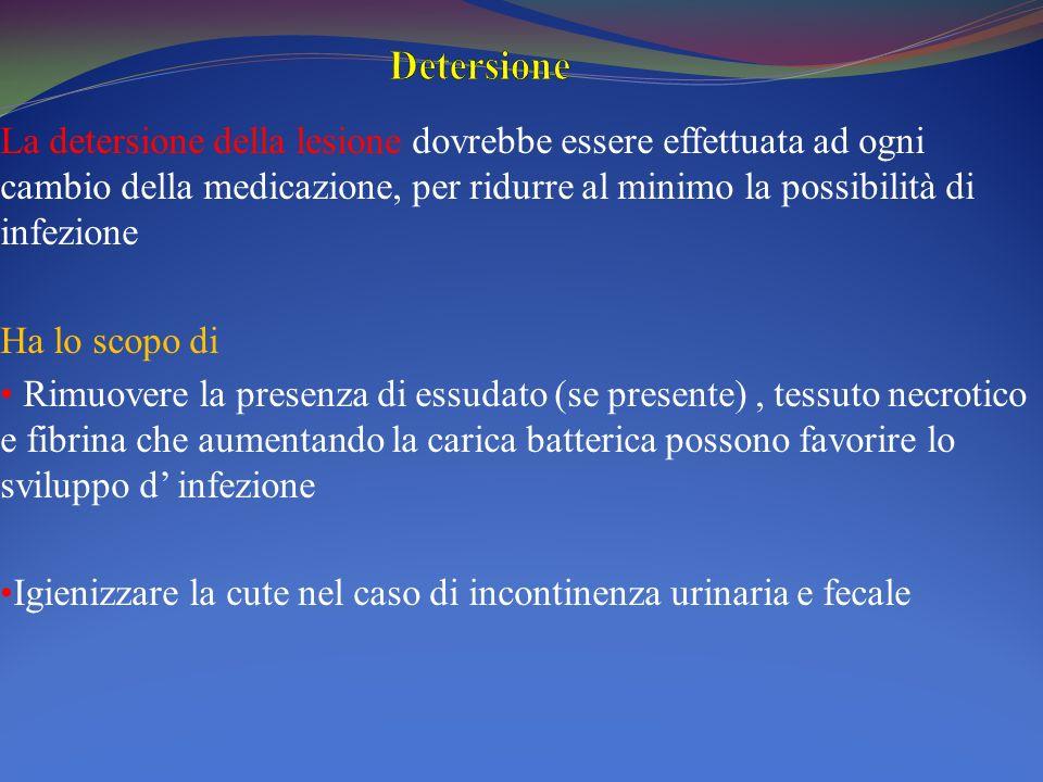 La detersione della lesione dovrebbe essere effettuata ad ogni cambio della medicazione, per ridurre al minimo la possibilità di infezione Ha lo scopo