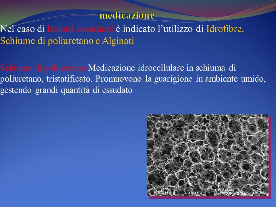 Nel caso di lesioni essudanti è indicato lutilizzo di Idrofibre, Schiume di poliuretano e Alginati Schiume di poliuretano Medicazione idrocellulare in