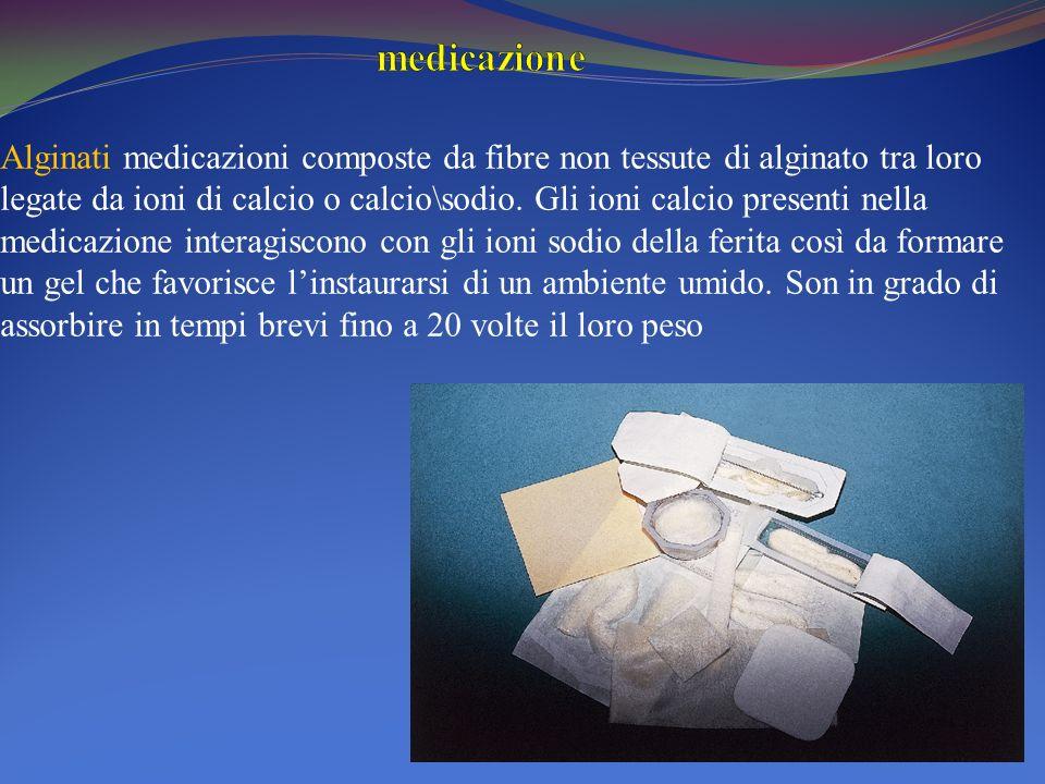 Alginati medicazioni composte da fibre non tessute di alginato tra loro legate da ioni di calcio o calcio\sodio. Gli ioni calcio presenti nella medica