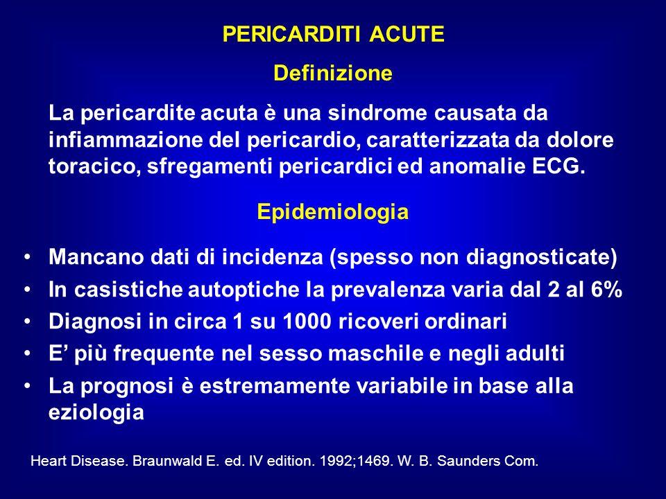 La pericardite acuta è una sindrome causata da infiammazione del pericardio, caratterizzata da dolore toracico, sfregamenti pericardici ed anomalie EC