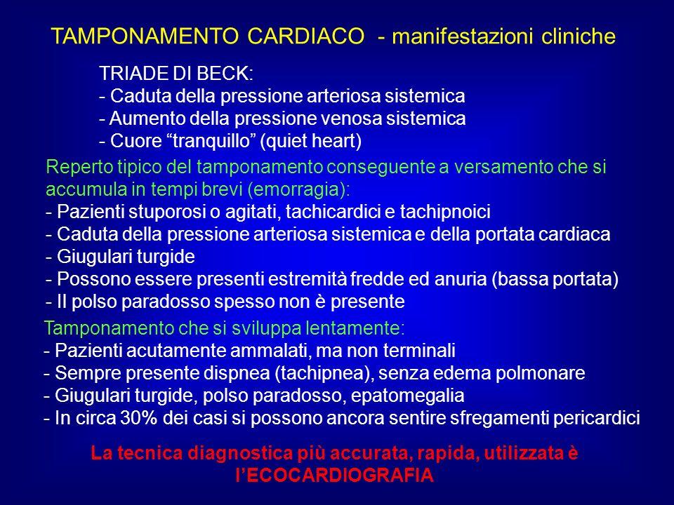 TAMPONAMENTO CARDIACO - manifestazioni cliniche TRIADE DI BECK: - Caduta della pressione arteriosa sistemica - Aumento della pressione venosa sistemic