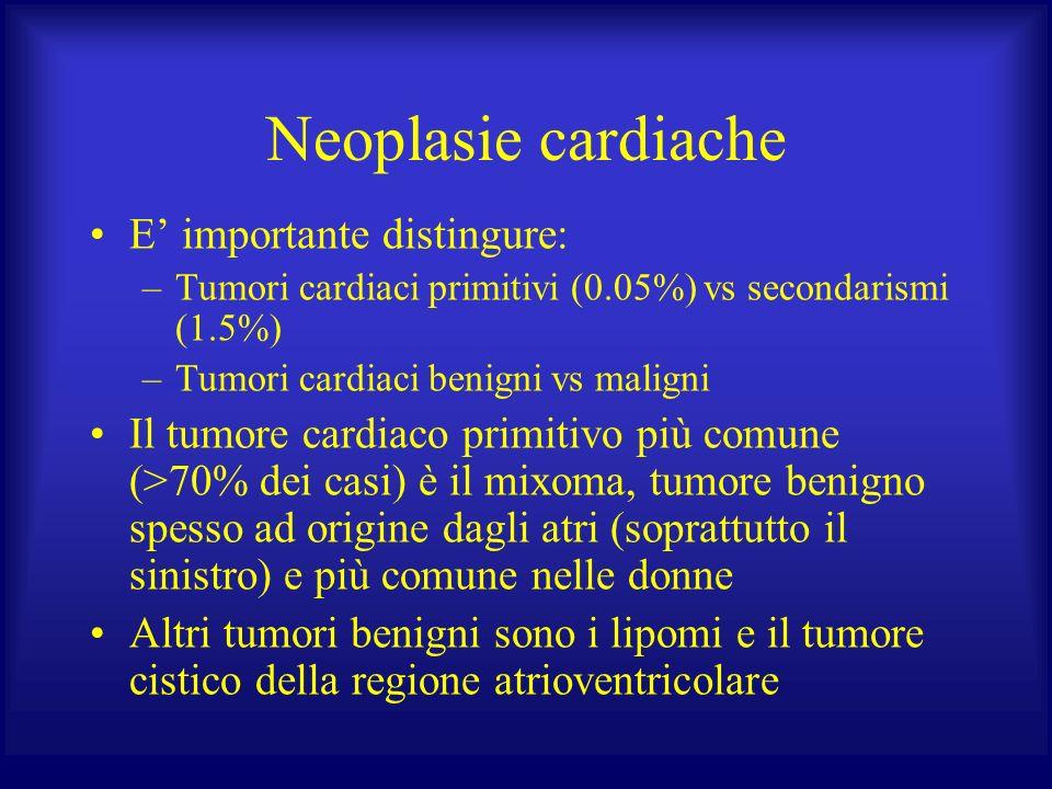 Neoplasie cardiache E importante distingure: –Tumori cardiaci primitivi (0.05%) vs secondarismi (1.5%) –Tumori cardiaci benigni vs maligni Il tumore c
