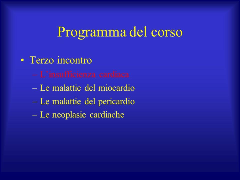 Programma del corso Terzo incontro –Linsufficienza cardiaca –Le malattie del miocardio –Le malattie del pericardio –Le neoplasie cardiache