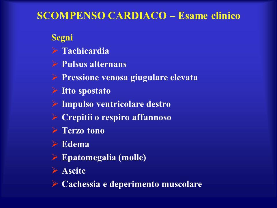 SCOMPENSO CARDIACO – Esame clinico Segni Tachicardia Pulsus alternans Pressione venosa giugulare elevata Itto spostato Impulso ventricolare destro Cre