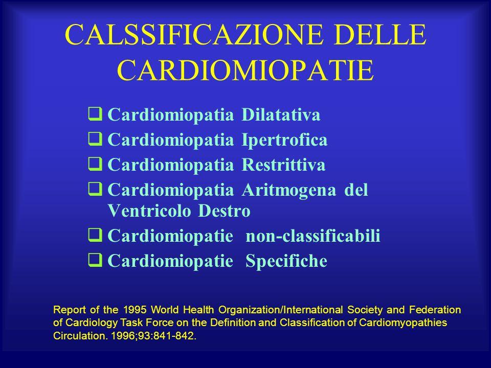 CALSSIFICAZIONE DELLE CARDIOMIOPATIE Cardiomiopatia Dilatativa Cardiomiopatia Ipertrofica Cardiomiopatia Restrittiva Cardiomiopatia Aritmogena del Ven