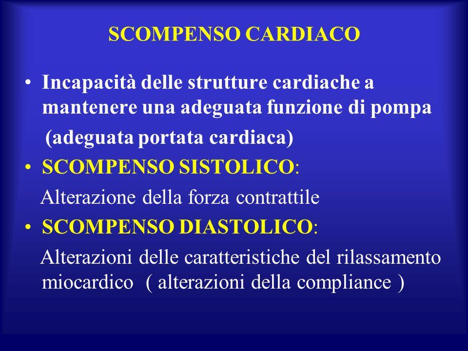SCOMPENSO CARDIACO Incapacità delle strutture cardiache a mantenere una adeguata funzione di pompa (adeguata portata cardiaca) SCOMPENSO SISTOLICO: Al