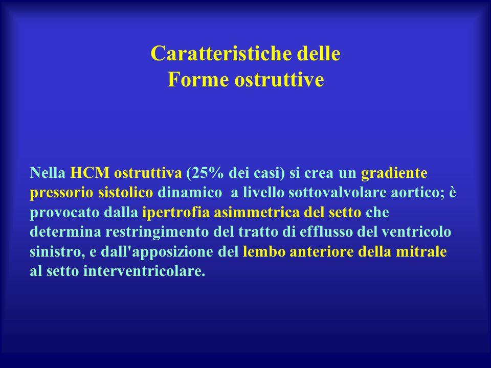 Caratteristiche delle Forme ostruttive Nella HCM ostruttiva (25% dei casi) si crea un gradiente pressorio sistolico dinamico a livello sottovalvolare