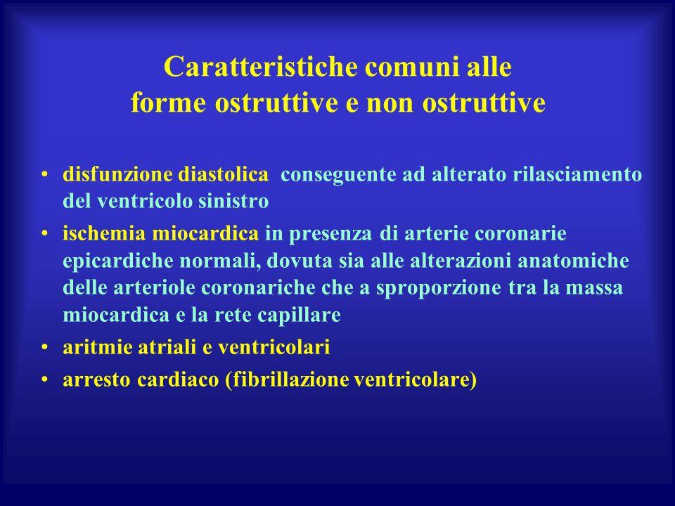Caratteristiche comuni alle forme ostruttive e non ostruttive disfunzione diastolica conseguente ad alterato rilasciamento del ventricolo sinistro isc