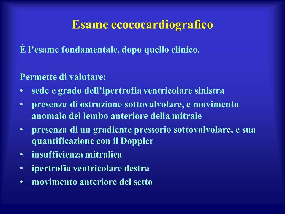 Esame ecococardiografico È lesame fondamentale, dopo quello clinico. Permette di valutare: sede e grado dellipertrofia ventricolare sinistra presenza