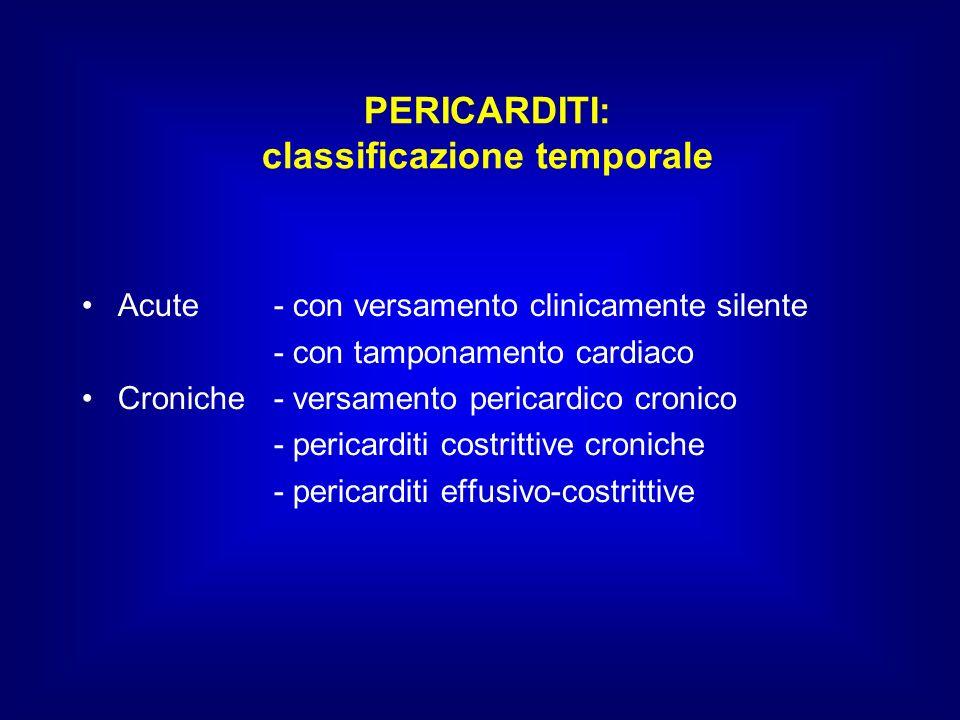 PERICARDITI: classificazione temporale Acute - con versamento clinicamente silente - con tamponamento cardiaco Croniche- versamento pericardico cronic