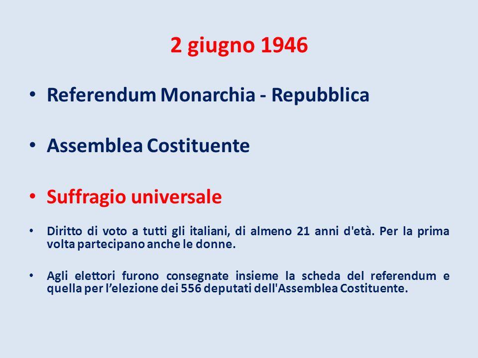 2 giugno 1946 Referendum Monarchia - Repubblica Assemblea Costituente Suffragio universale Diritto di voto a tutti gli italiani, di almeno 21 anni d'e