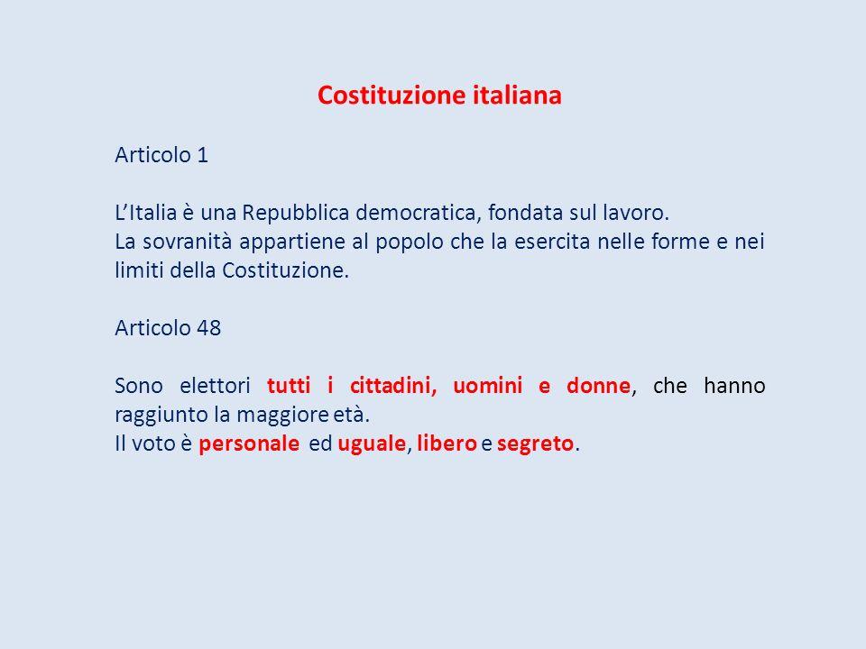Costituzione italiana Articolo 1 LItalia è una Repubblica democratica, fondata sul lavoro. La sovranità appartiene al popolo che la esercita nelle for