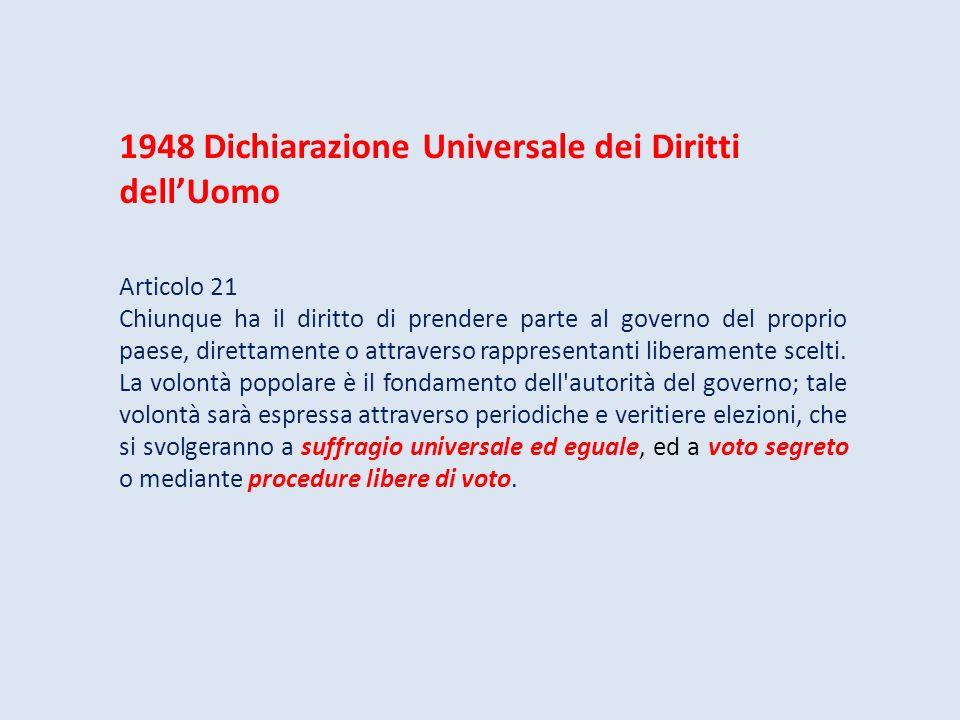 1948 Dichiarazione Universale dei Diritti dellUomo Articolo 21 Chiunque ha il diritto di prendere parte al governo del proprio paese, direttamente o a
