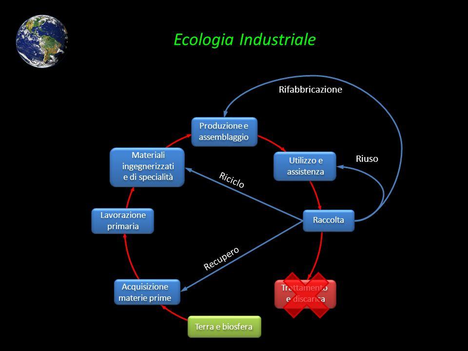 Ecologia Industriale Produzione e assemblaggio Materiali ingegnerizzati e di specialità Lavorazione primaria Acquisizione materie prime Terra e biosfe