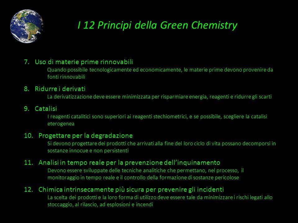 I 12 Principi della Green Chemistry 7. Uso di materie prime rinnovabili Quando possibile tecnologicamente ed economicamente, le materie prime devono p