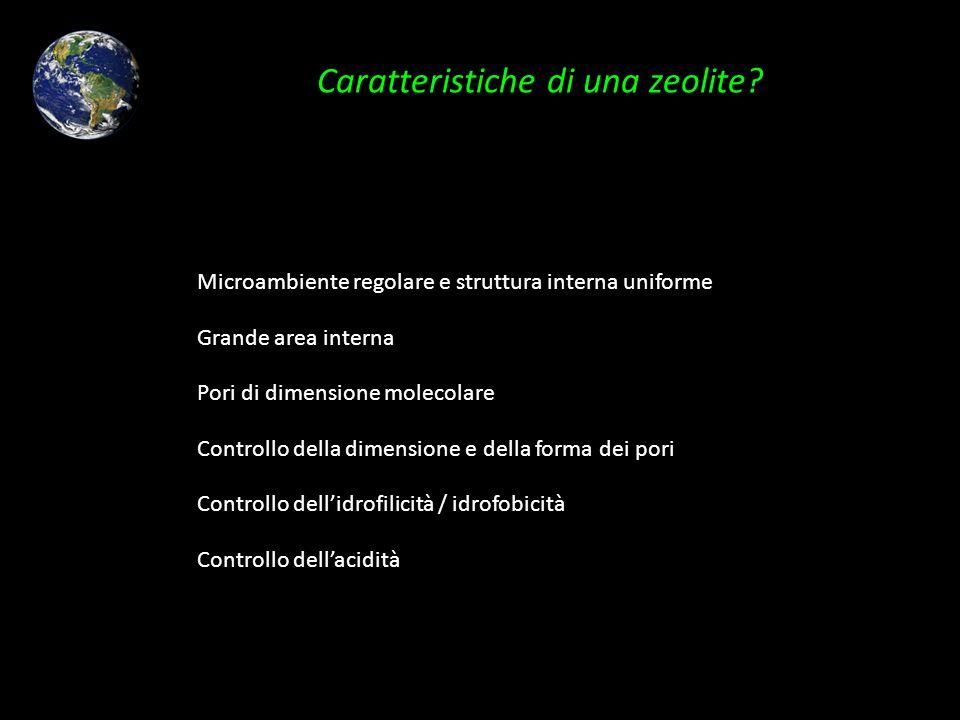 Caratteristiche di una zeolite? Microambiente regolare e struttura interna uniforme Grande area interna Pori di dimensione molecolare Controllo della