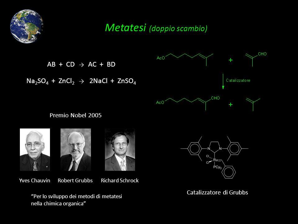 Metatesi (doppio scambio) Premio Nobel 2005 Per lo sviluppo dei metodi di metatesi nella chimica organica Yves ChauvinRobert GrubbsRichard Schrock Cat