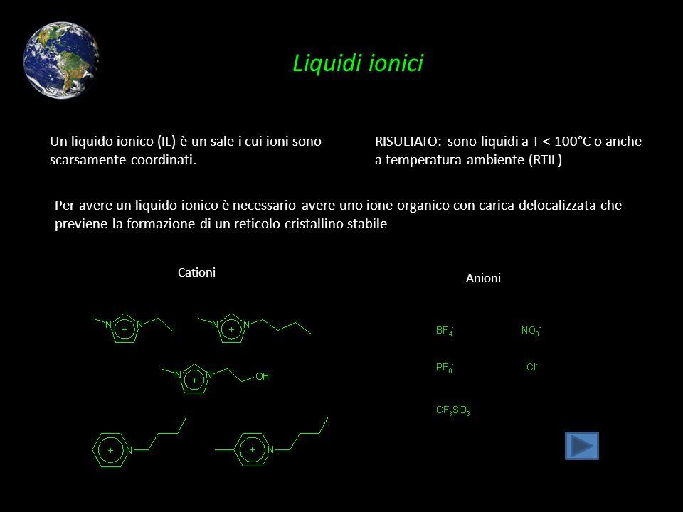 Liquidi ionici Un liquido ionico (IL) è un sale i cui ioni sono scarsamente coordinati. RISULTATO: sono liquidi a T < 100°C o anche a temperatura ambi