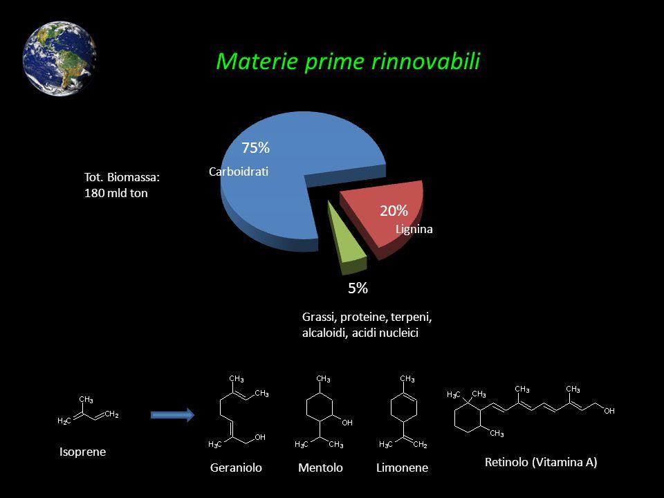 Carboidrati Lignina Grassi, proteine, terpeni, alcaloidi, acidi nucleici Isoprene GeranioloMentoloLimonene Retinolo (Vitamina A) Tot. Biomassa: 180 ml