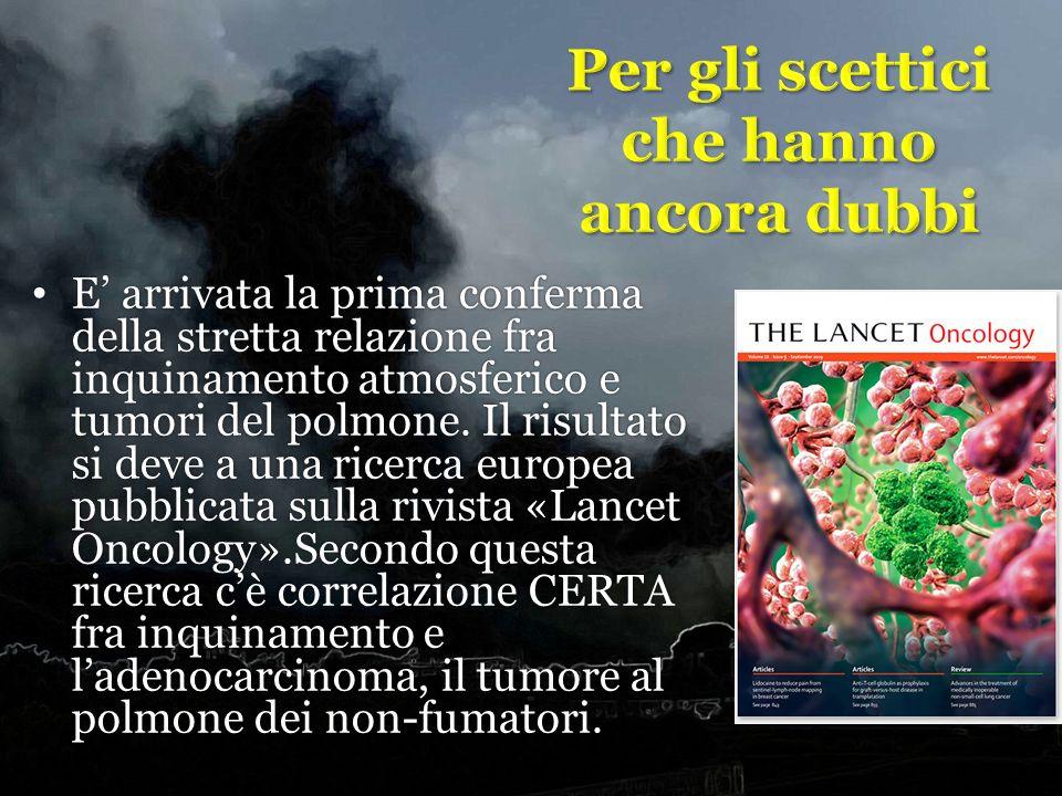 E arrivata la prima conferma della stretta relazione fra inquinamento atmosferico e tumori del polmone. Il risultato si deve a una ricerca europea pub