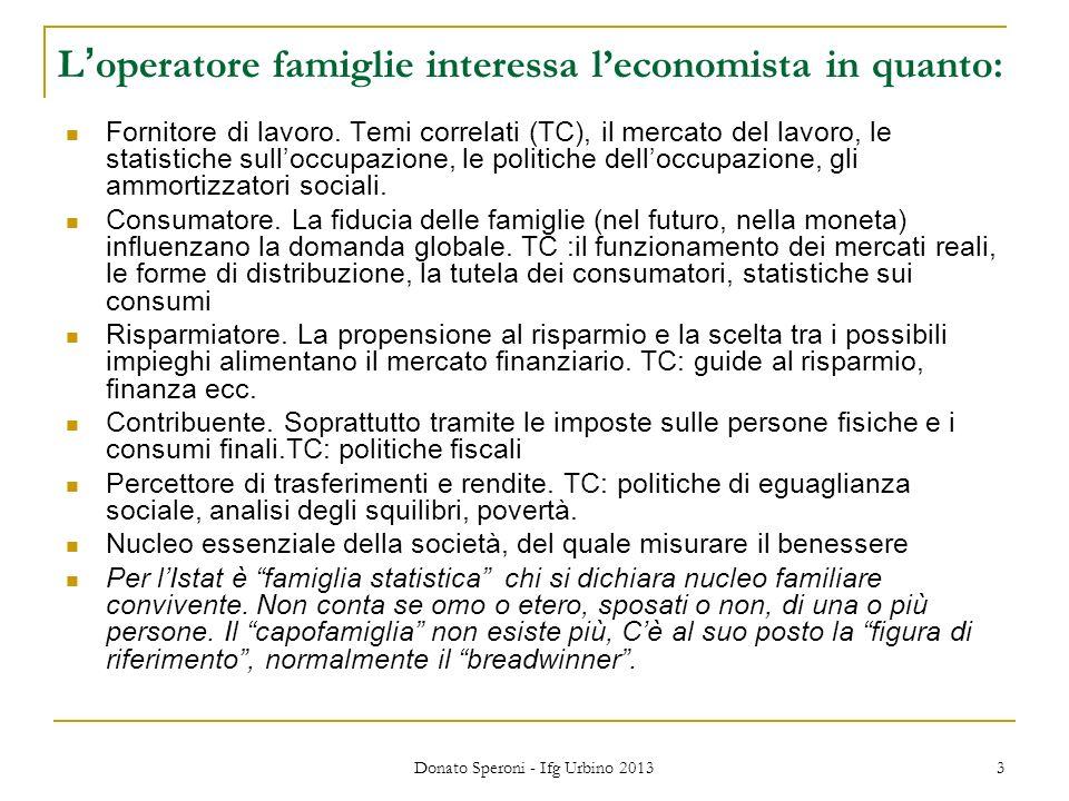Donato Speroni - Ifg Urbino 2013 3 Loperatore famiglie interessa leconomista in quanto: Fornitore di lavoro.