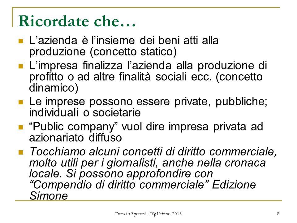 Donato Speroni - Ifg Urbino 2013 8 Ricordate che… Lazienda è linsieme dei beni atti alla produzione (concetto statico) Limpresa finalizza lazienda alla produzione di profitto o ad altre finalità sociali ecc.