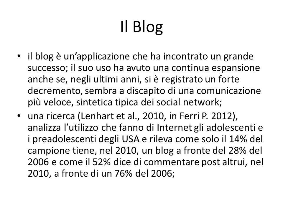 Il Blog il blog è unapplicazione che ha incontrato un grande successo; il suo uso ha avuto una continua espansione anche se, negli ultimi anni, si è registrato un forte decremento, sembra a discapito di una comunicazione più veloce, sintetica tipica dei social network; una ricerca (Lenhart et al., 2010, in Ferri P.