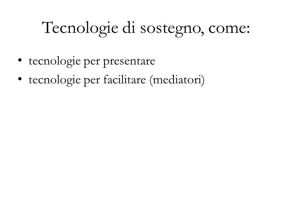 Tecnologie di sostegno, come: tecnologie per presentare tecnologie per facilitare (mediatori)