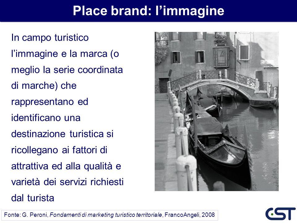 In campo turistico limmagine e la marca (o meglio la serie coordinata di marche) che rappresentano ed identificano una destinazione turistica si ricol