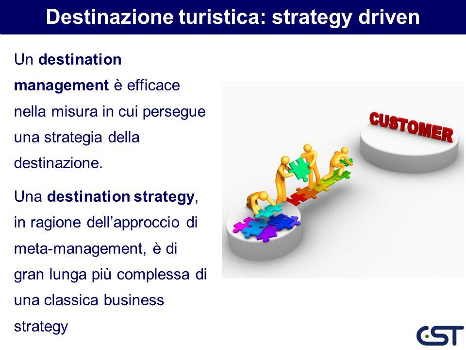 Un destination management è efficace nella misura in cui persegue una strategia della destinazione. Una destination strategy, in ragione dellapproccio