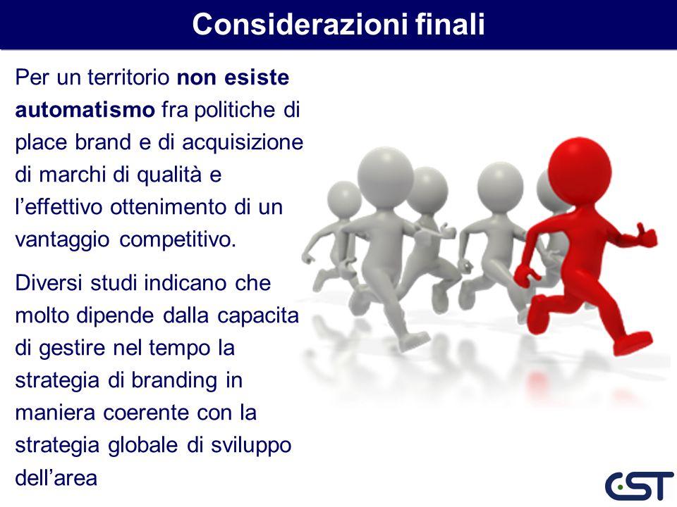 Per un territorio non esiste automatismo fra politiche di place brand e di acquisizione di marchi di qualità e leffettivo ottenimento di un vantaggio