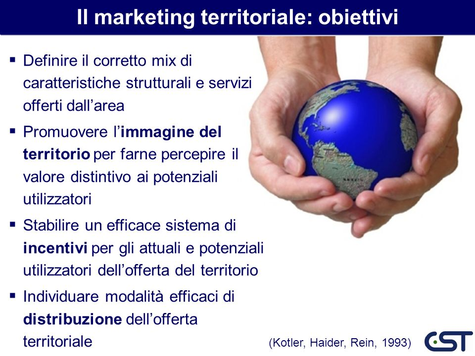 Il marketing territoriale: obiettivi Definire il corretto mix di caratteristiche strutturali e servizi offerti dallarea Promuovere limmagine del terri