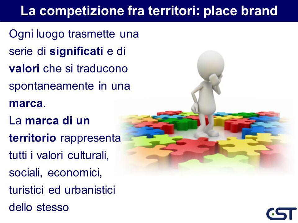 Fattore/premessa fondamentale di una strategia di marketing del territorio è la creazione e sviluppo di una marca del luogo (place brand) La competizione fra territori: place brand Esaltazione delle diversità rispetto ai competitor attraverso la valorizzazione dei fattori tangibili ed intangibili di attrattiva
