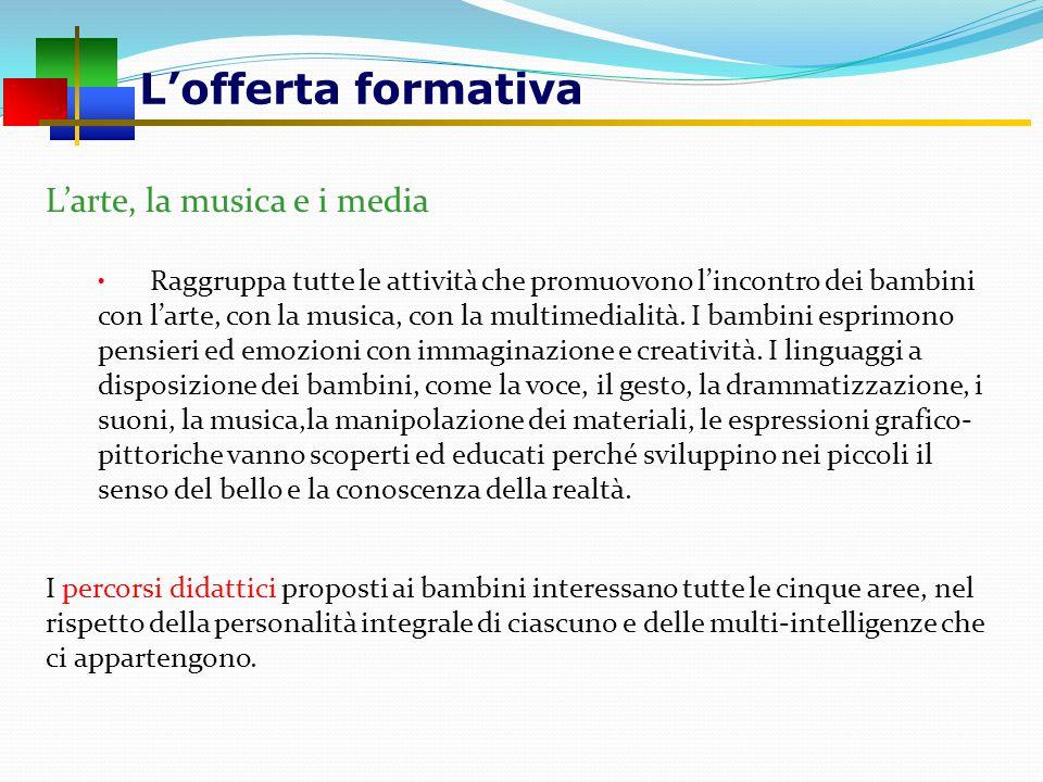 Lofferta formativa Larte, la musica e i media Raggruppa tutte le attività che promuovono lincontro dei bambini con larte, con la musica, con la multim