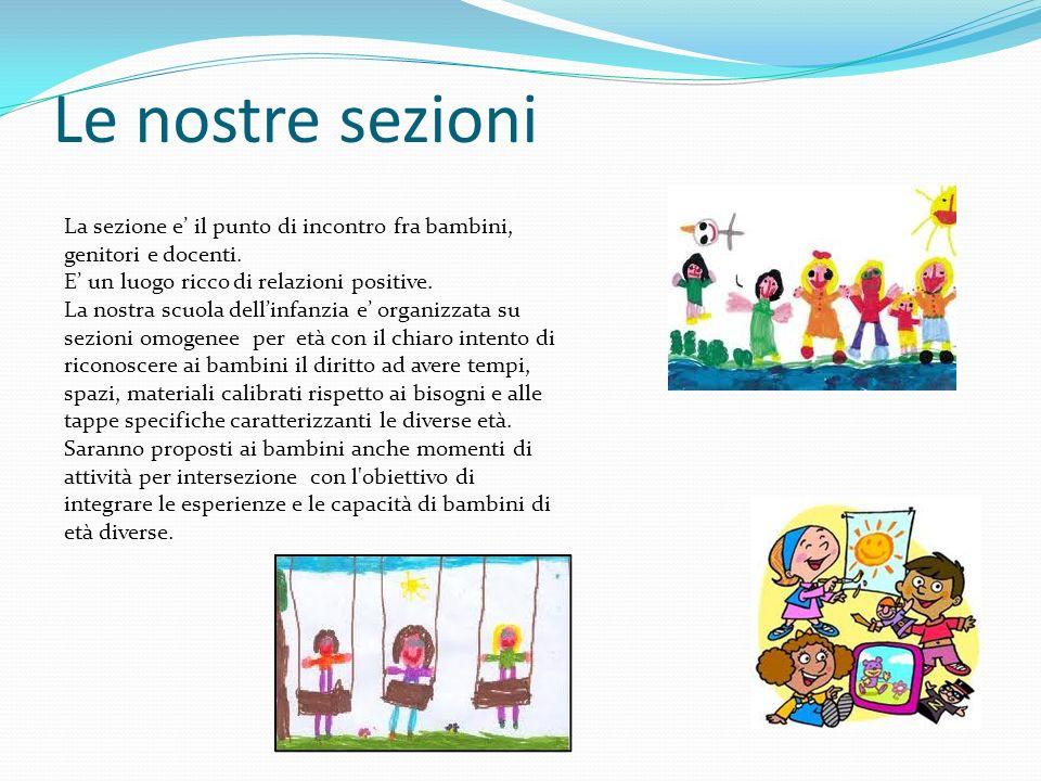 Le nostre sezioni La sezione e il punto di incontro fra bambini, genitori e docenti. E un luogo ricco di relazioni positive. La nostra scuola dellinfa