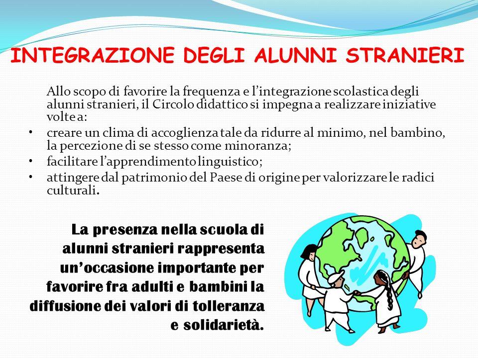 INTEGRAZIONE DEGLI ALUNNI STRANIERI Allo scopo di favorire la frequenza e lintegrazione scolastica degli alunni stranieri, il Circolo didattico si imp
