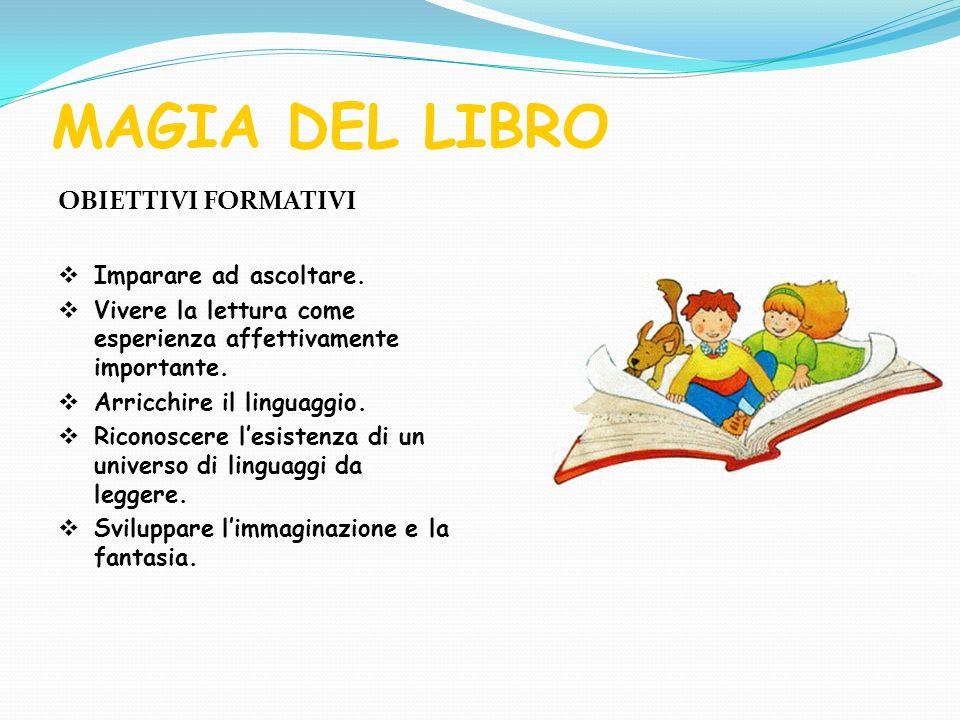 MAGIA DEL LIBRO OBIETTIVI FORMATIVI Imparare ad ascoltare. Vivere la lettura come esperienza affettivamente importante. Arricchire il linguaggio. Rico