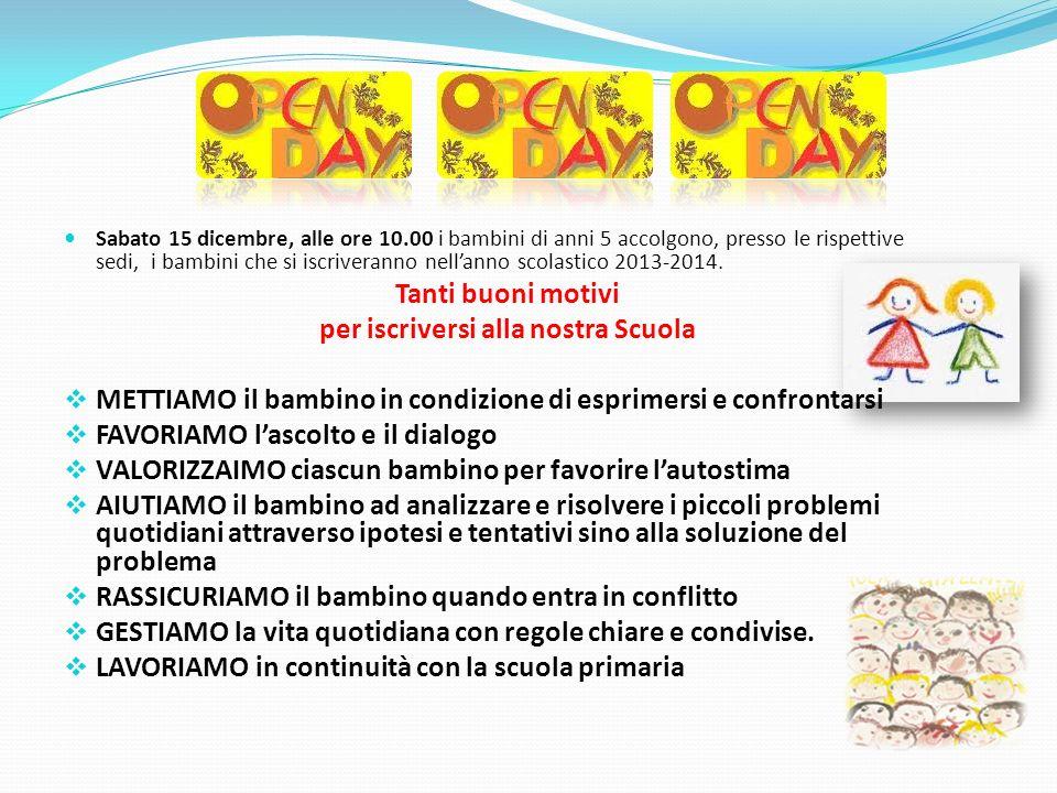 Sabato 15 dicembre, alle ore 10.00 i bambini di anni 5 accolgono, presso le rispettive sedi, i bambini che si iscriveranno nellanno scolastico 2013-20