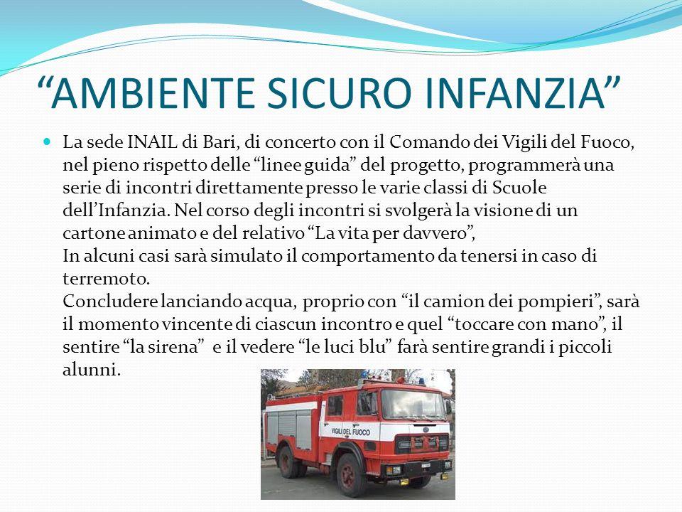 AMBIENTE SICURO INFANZIA La sede INAIL di Bari, di concerto con il Comando dei Vigili del Fuoco, nel pieno rispetto delle linee guida del progetto, pr
